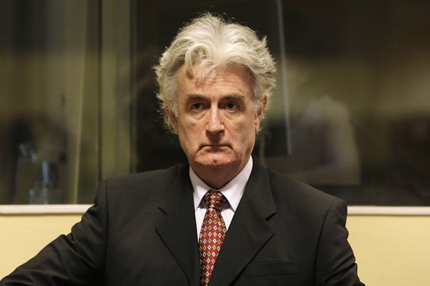 Former Bosnian Serb leader Radovan Karadzic attends a hearing at the United Nations tribunal in The Hague