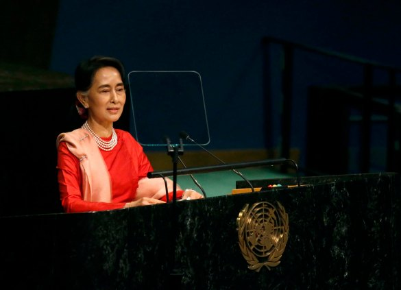 Myanmar's Minister of Foreign Affairs Aung San Suu Kyi addresses the 71st United Nations General Assembly in New York