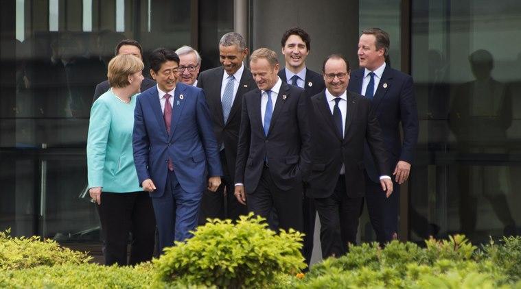 Shinzo Abe, Donald Tusk, Matteo Renzi,  Angela Merkel, Barack Obama, Francois Hollande, David Cameron, Justin Trudeau, Jean-Claude Juncker