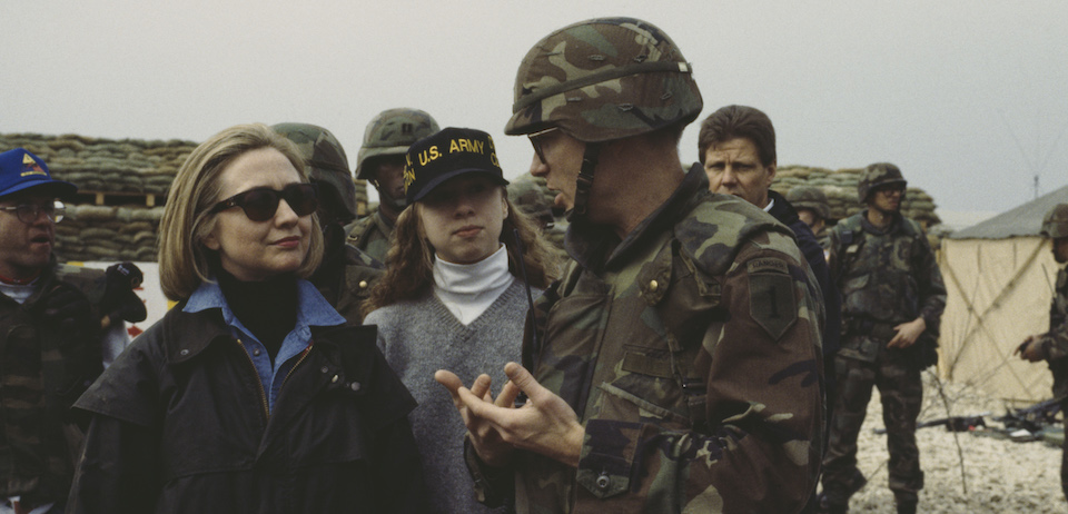 Hillary Clinton Visits Troops In Bosnia