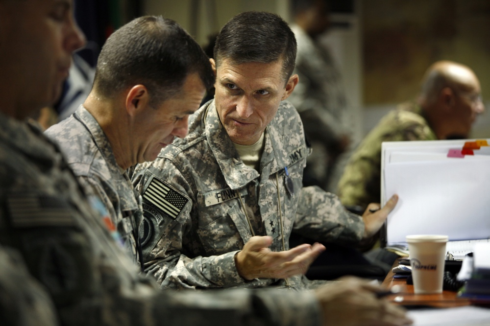 KABUL, AFGHANISTAN––Maj. General Michael T. Flynn, right, is director of intelligence in Afghanista