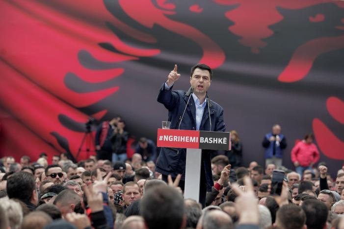 Albania's opposition Democratic Party leader Lulzim Basha speaks to his supporters during a protest against the government in front of Prime Minister Edi Rama's office, in Tirana