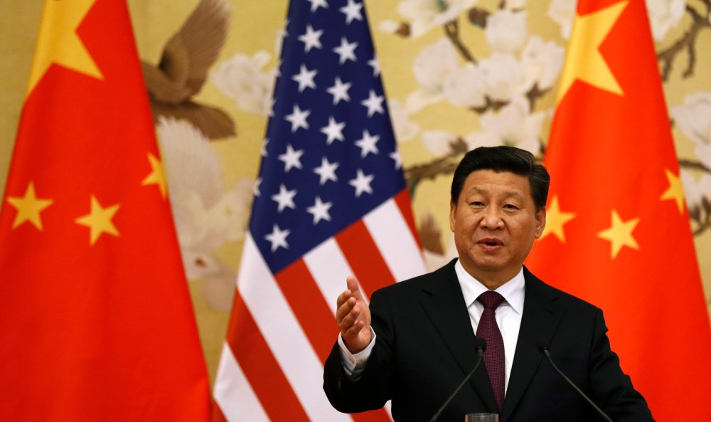 File picture of Chinese President Xi Jinping speaking at a news conference in Beijing