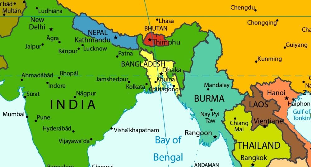 Northeast India Map - India - ASEAN - Modi - strategia - politica estera - Act East - regione - Relazioni internazionali (2)