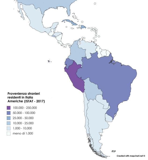 Provenienza stranieri residenti in Italia 2016 - Americhe (ISTAT)